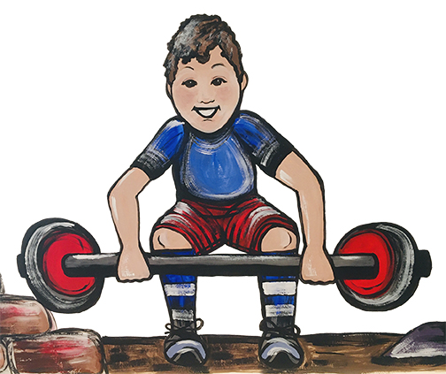 Boy with weights